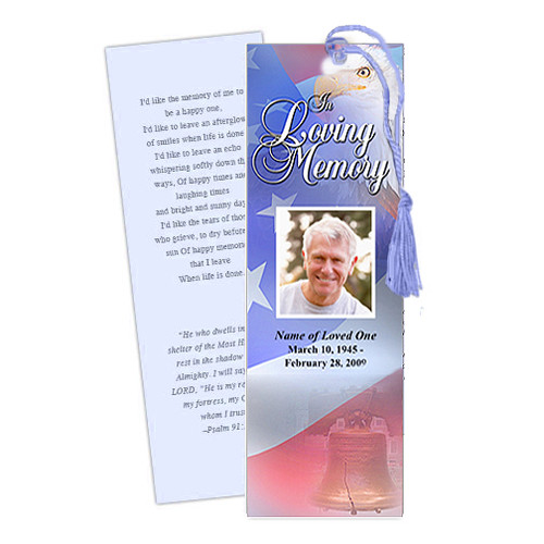 Patriot DIY Funeral Memorial Bookmark Template