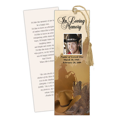 Ranch DIY Funeral Memorial Bookmark Template