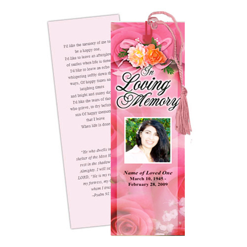 Rosy DIY Funeral Memorial Bookmark Template