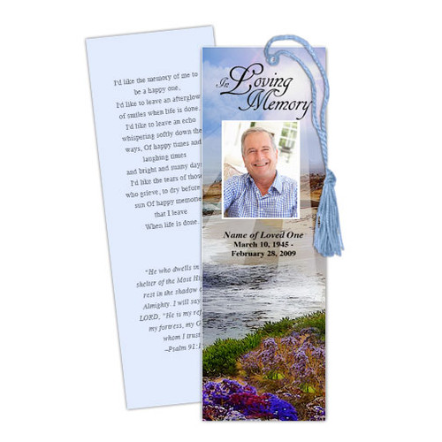 Seascape DIY Funeral Memorial Bookmark Template