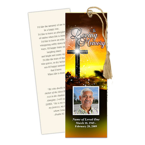 Splendor DIY Funeral Memorial Bookmark Template