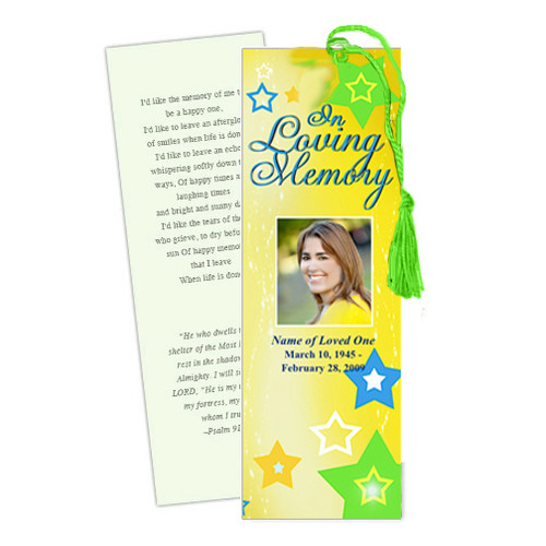 Starry DIY Funeral Memorial Bookmark Template