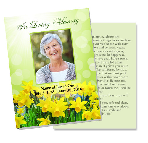 Daffodils DIY Funeral Card Template