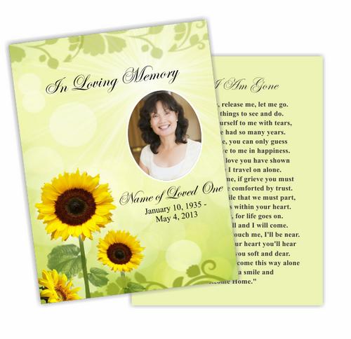 Sunflower DIY Funeral Card Template