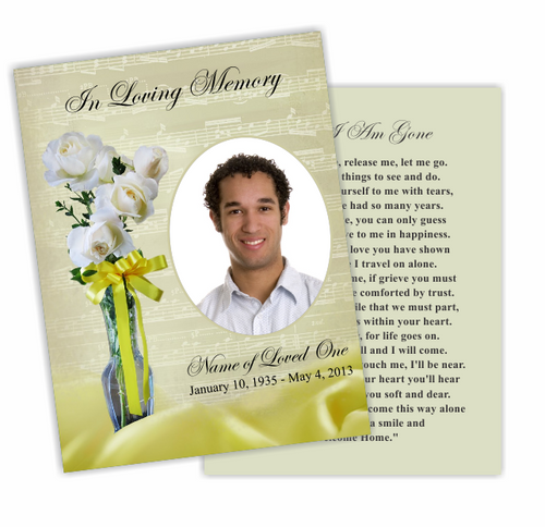 Vivace Flat Memorial Card Template