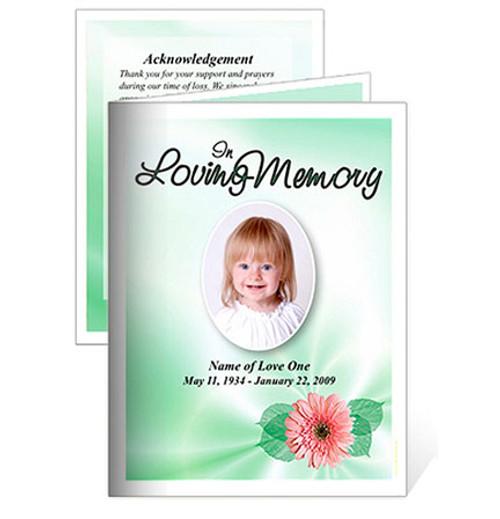 Blossom Small Folded Memorial Card Template
