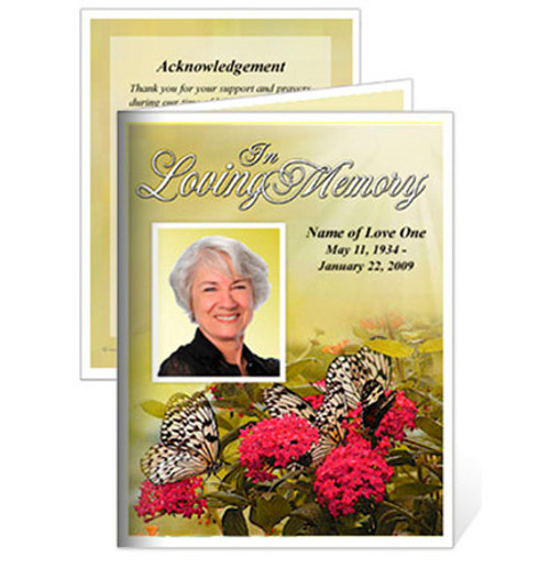 Bouquet Small Folded Memorial Card Template