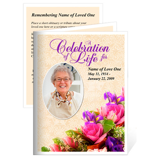 Golden Small Folded Memorial Card Template