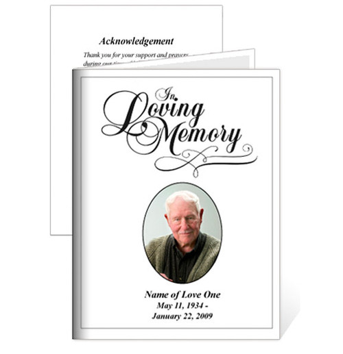 Loving Small Folded Memorial Funeral Card Template