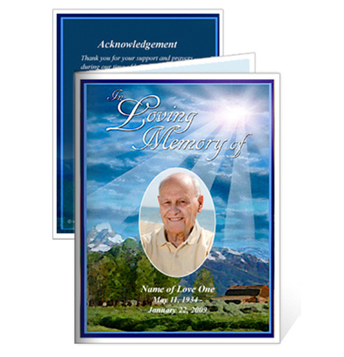 Outdoor Small Folded Memorial Funeral Card Template