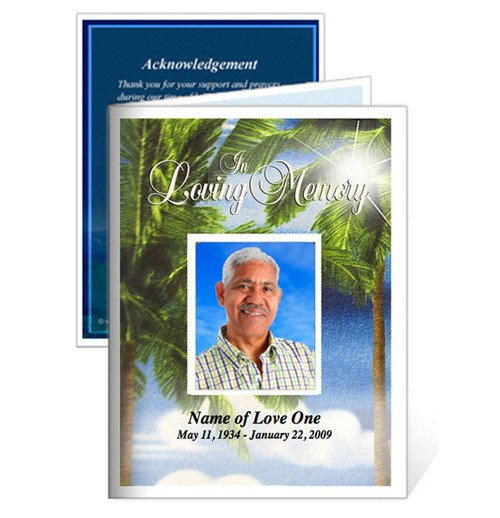 Paradise Small Folded Memorial Funeral Card Template