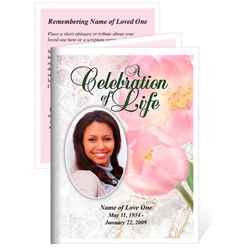Pearls Small Folded Funeral Card Template
