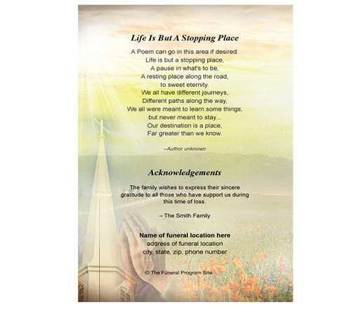 Savior Small Folded Memorial Funeral Card Template back view