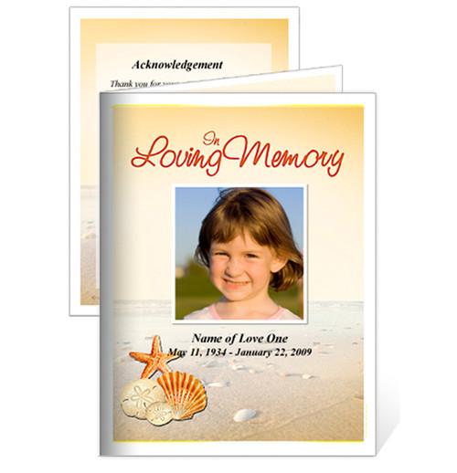 Seashore Small Folded Funeral Card Template