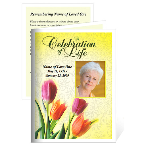 Sunny Small Folded Funeral Card Template