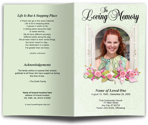 Window Funeral Program Template