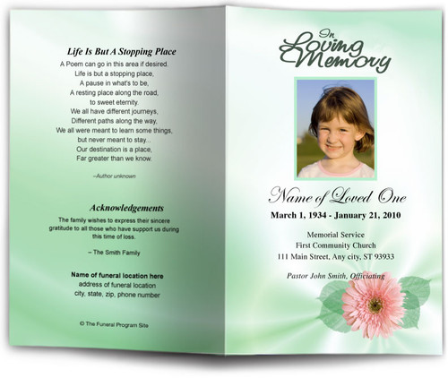blossom green Funeral Program Template