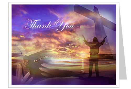Worship Funeral Thank You Card Template