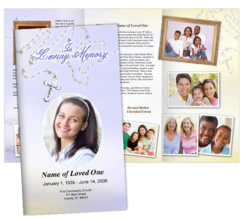 Beads Large Tabloid Trifold Funeral Brochures Template