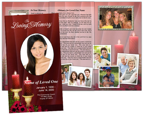 Candlelight Large Tabloid Trifold Funeral Brochures Template