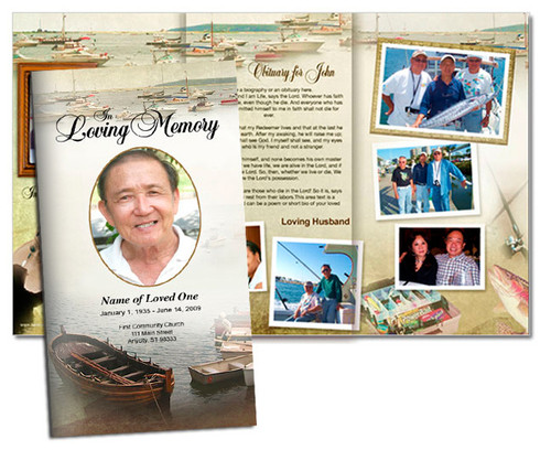 Fishing Large Trifold Funeral Brochures Template