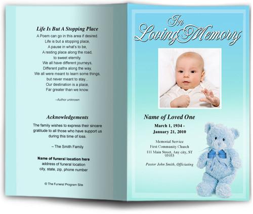 nursery blue Funeral Program Template