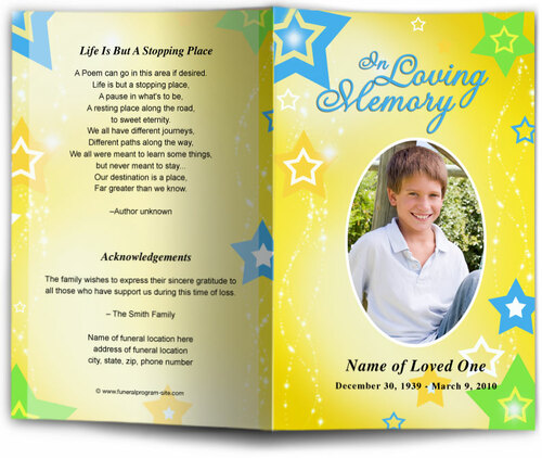 starry yellow Funeral Program Template