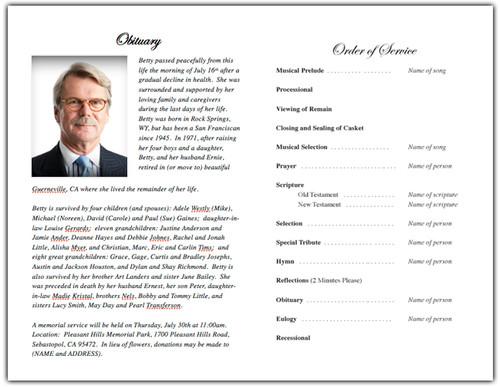 Monogram A Memorial Program Template inside view