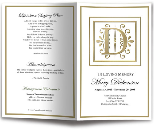 Funeral Gold D Monogram Template