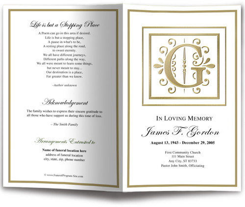 Funeral Gold G Monogram Template