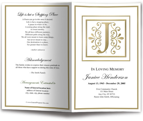 Funeral Gold J Monogram Template