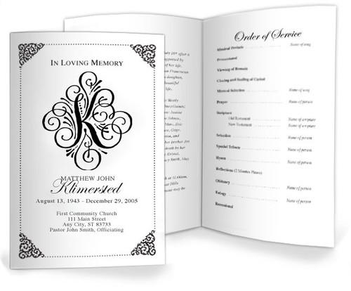 K Funeral Program Monogram Template