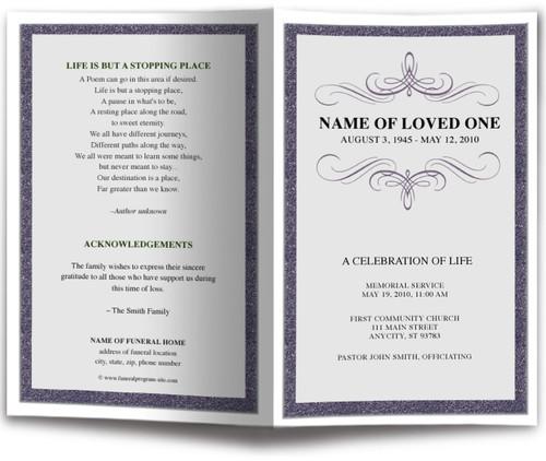 Script Funeral Program Monogram Template