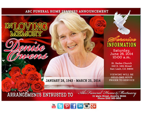 Elegance Funeral Announcement Social Media