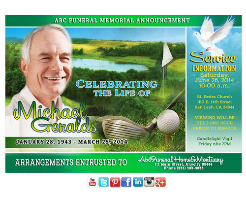 Golfer Funeral Announcement Social Media