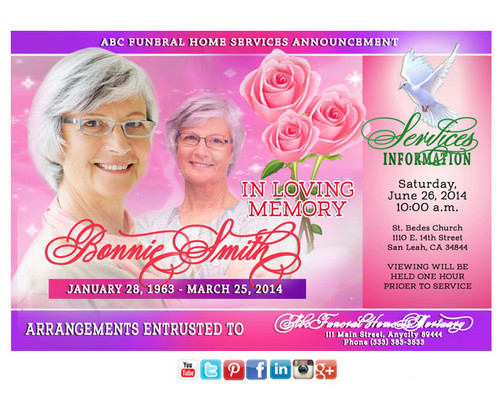 Pink Petals Funeral Announcement Social Media