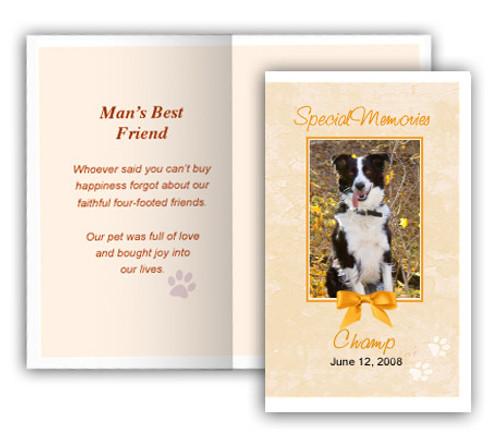 Peach Folded DIY Pet Memorial Card Template