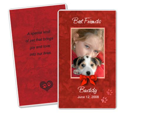 Red DIY No Fold Pet Memorial Card Templates