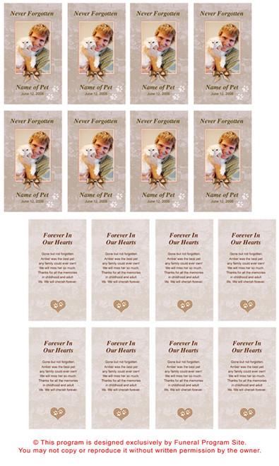 Tan DIY No Fold Pet Memorial Card Templates inside view