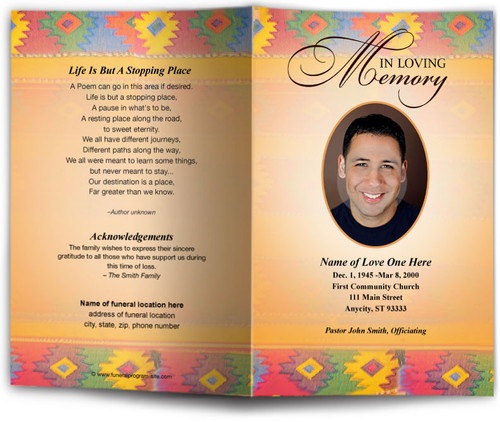 de colores funeral program template