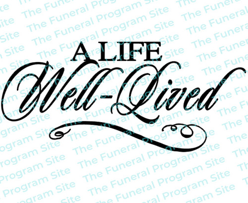 A Life Well Lived Funeral Program Title