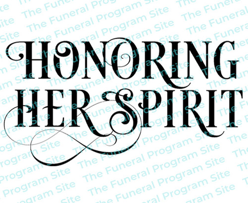 Honoring Her Spirit Funeral Program Title