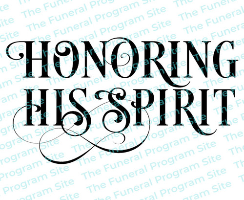 Honoring His Spirit Funeral Program Title