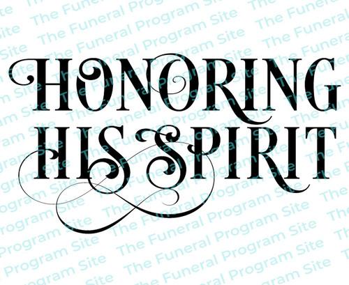 Honoring His Spirit Funeral Program Title