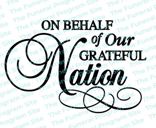 On Behalf Of Our Nation Funeral Program Titles