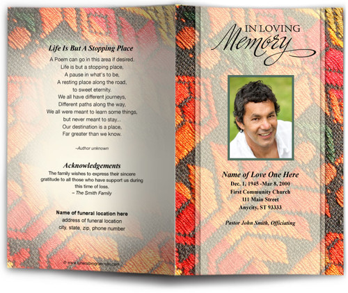 poncho ready-made DIY funeral program template