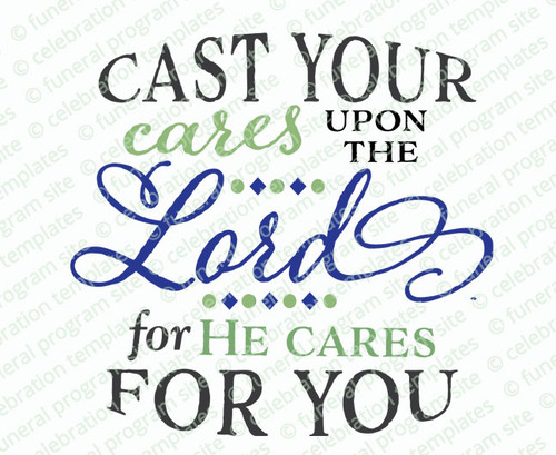 Cast Your Cares Funeral Bible Verses Word Art
