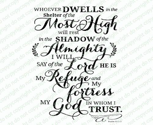 He Who Dwells Bible Verse Word Art