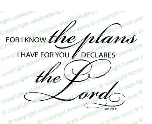 I Know The Plans Bible Verse Word Art