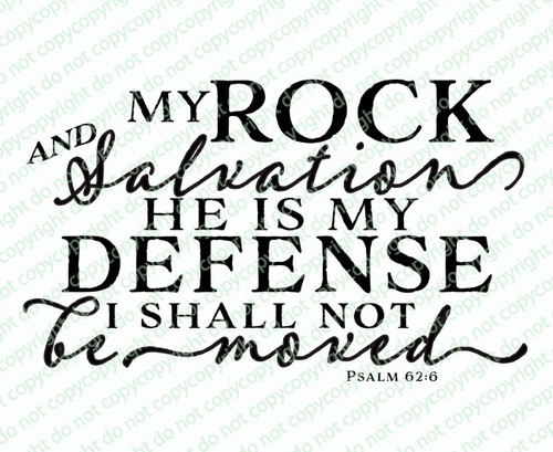 My Rock And My Salvation Funeral Bible Verses Word Art